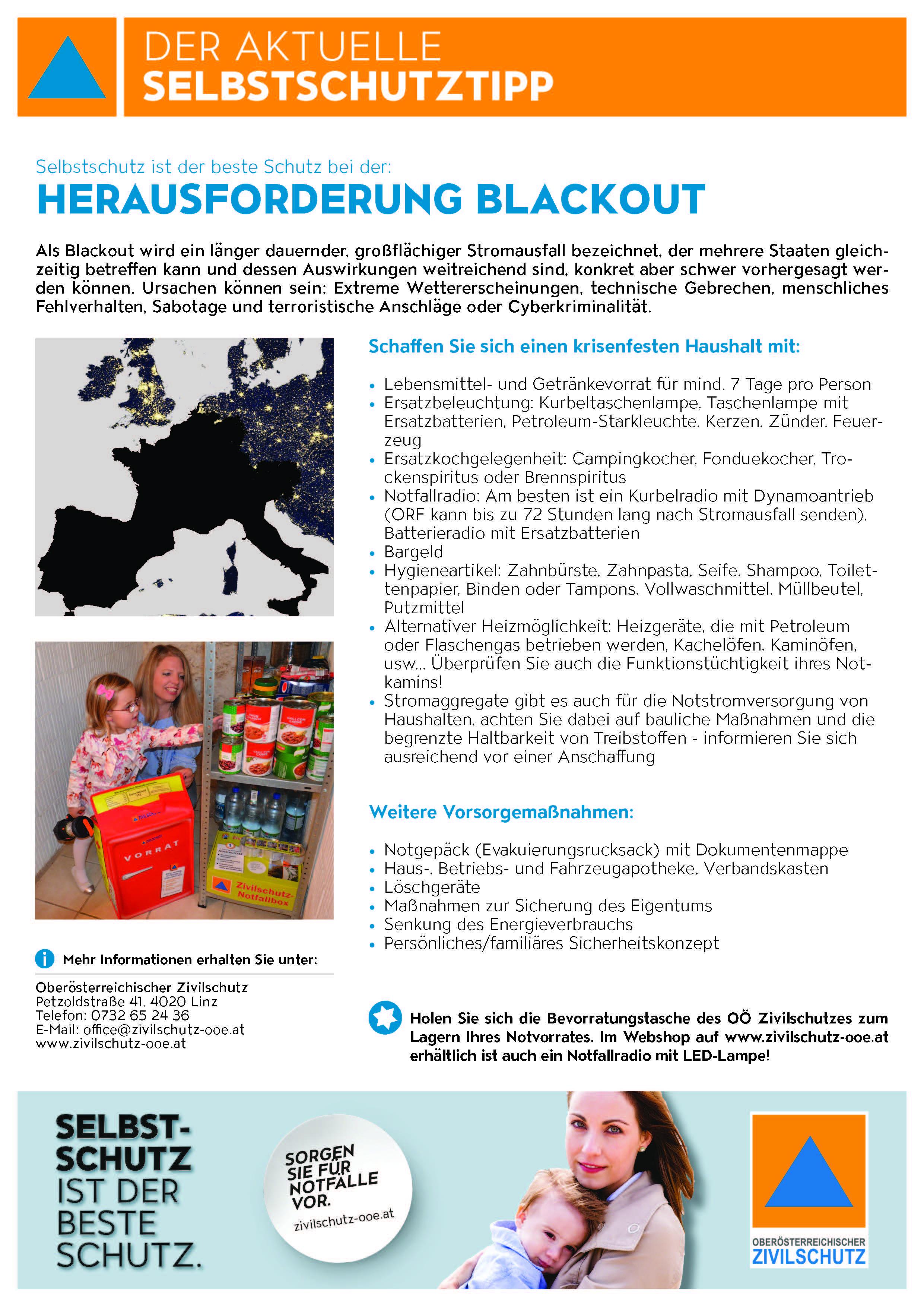 Selbstschutztipp Stromausfall Zivilschutz Oö